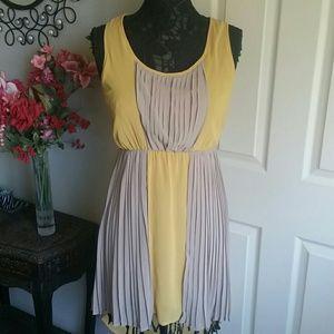 Ya Los Angeles Pleated High Low Colorblock Dress